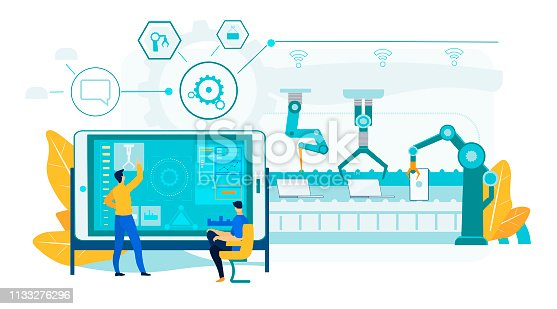 Innovation Laptop Assembly Process. Robotic Conveyor Line with Engineering People Control Process. Man Operator Character near Industrial Tablet Screen Panel. Efficient Manufacturing Technology.