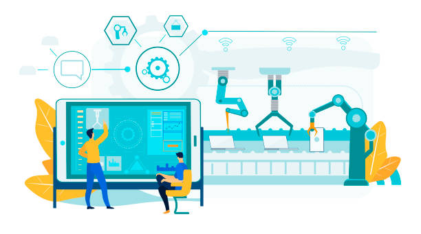 Innovation Laptop Assembly. Robotic Conveyor Line. Innovation Laptop Assembly Process. Robotic Conveyor Line with Engineering People Control Process. Man Operator Character near Industrial Tablet Screen Panel. Efficient Manufacturing Technology. automated stock illustrations
