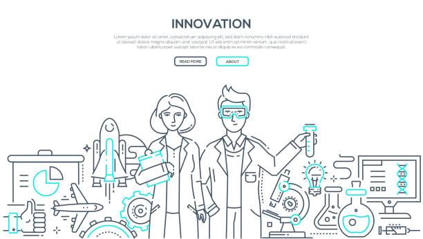ilustrações de stock, clip art, desenhos animados e ícones de innovation - line design style isolated illustration - scientist