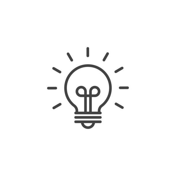 innowacyjność lub innowacyjny symbol idei. ikona liniowa. - natchnienie stock illustrations