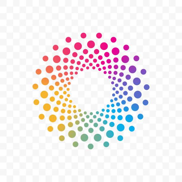 bildbanksillustrationer, clip art samt tecknat material och ikoner med innovation eller företaget och web vektor logotypen programikonen i färgcirkeln prickar - spektrum