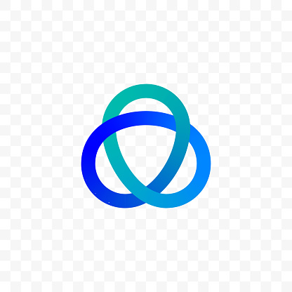 Innovation or technology company vector logo template, Vector triangle circles icon of gradient color line infinity ellipse