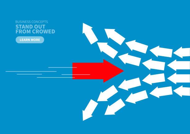 innovation, roter pfeil bricht die ordnung - laufführer stock-grafiken, -clipart, -cartoons und -symbole