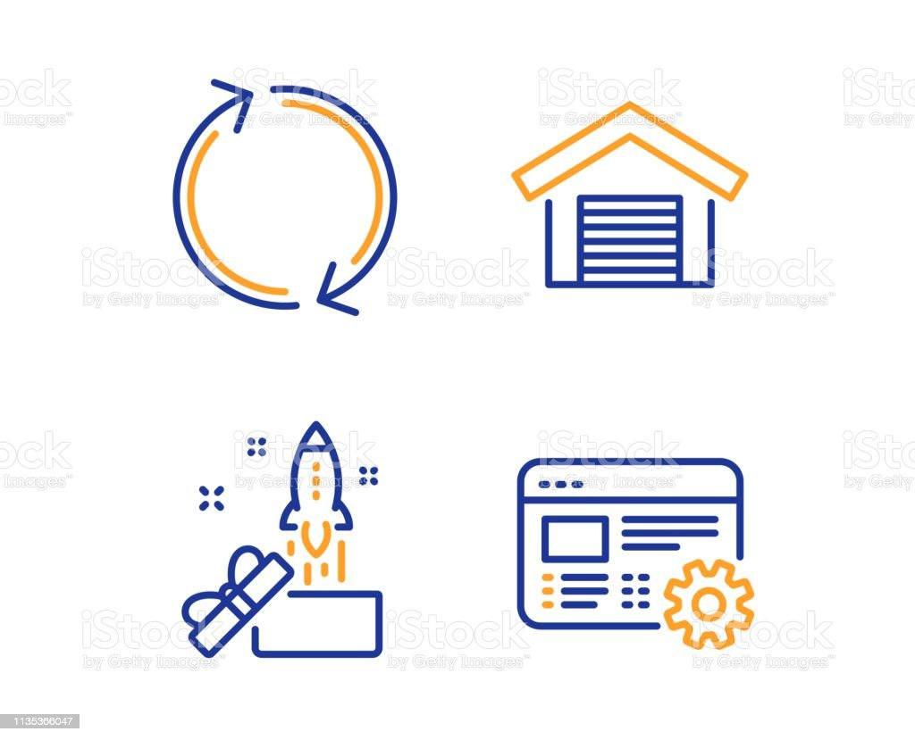 Innovation, Refresh and Parking garage icons set. Web settings sign. Crowdfunding, Rotation, Car place. Vector royalty-free innovation refresh and parking garage icons set web settings sign crowdfunding rotation car place vector stock illustration - download image now
