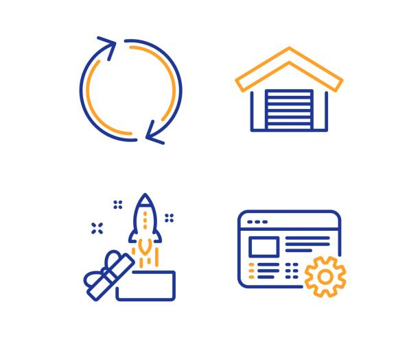 Innovation, Refresh and Parking garage icons set. Web settings sign. Crowdfunding, Rotation, Car place. Vector vector art illustration