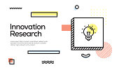 Innovation Research Concept. Geometric Retro Style Banner and Poster Concept with Innovation Research icon