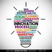 Innovation vector light bulb idea concept. Word cloud.