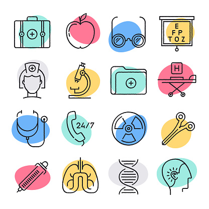 Innovations in Health Care Doodle Style Vector Icon Set