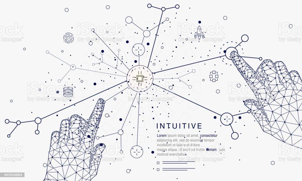 Sistemas de innovaciones conectando personas y robots - ilustración de arte vectorial