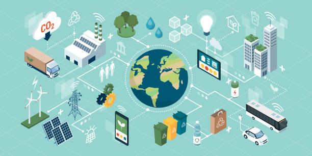 innovative green technologies, smart systems and recycling - sustainability stock illustrations