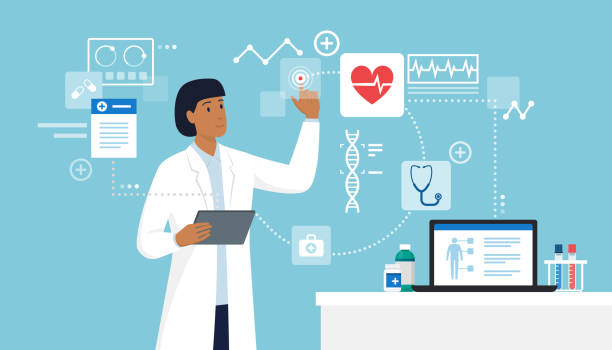 Innovative healthcare and technology Female doctor connecting with a digital tablet and interacting with a virtual user interface, innovative healthcare and technology concept medical technology stock illustrations