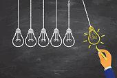Innovative Idea Concepts with Light Bulb on Blackboard Background