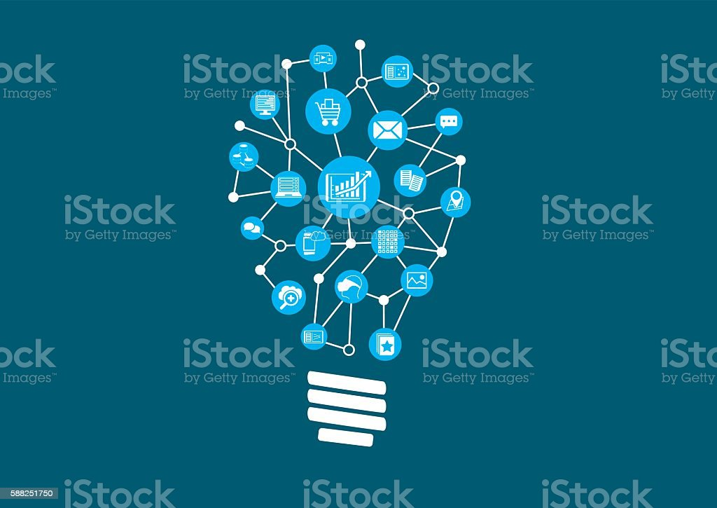 Innovative ideas for big data and predictive analytics vector art illustration