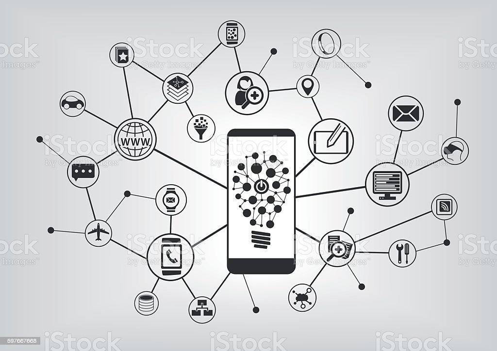 Innovative mobile technology. Smart phone connecting to mobile devices vector art illustration