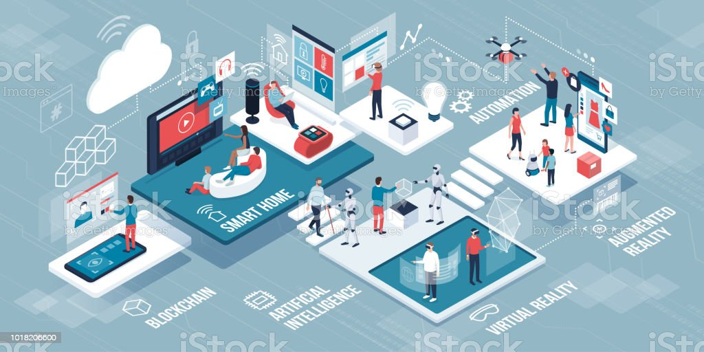 Innovative technology and lifestyle infographic vector art illustration