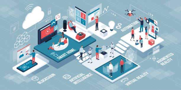 innovative technology and lifestyle infographic - rzut izometryczny stock illustrations