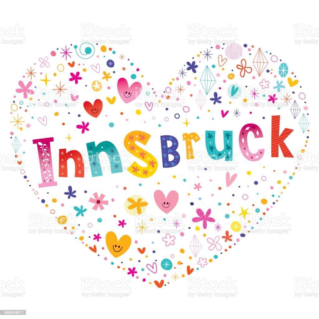 Innsbruck city in Austria heart shaped design vector art illustration