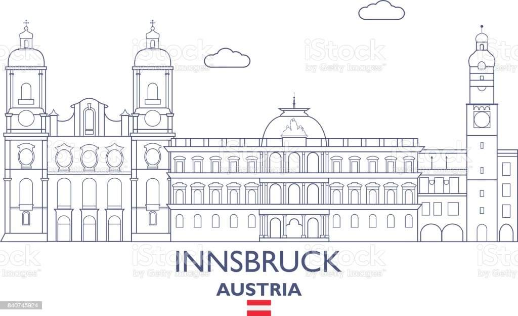 Innsbruck City Skyline, Austria vector art illustration