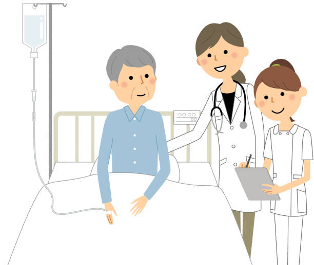 Inpatient, doctor and nurse - illustrazione arte vettoriale