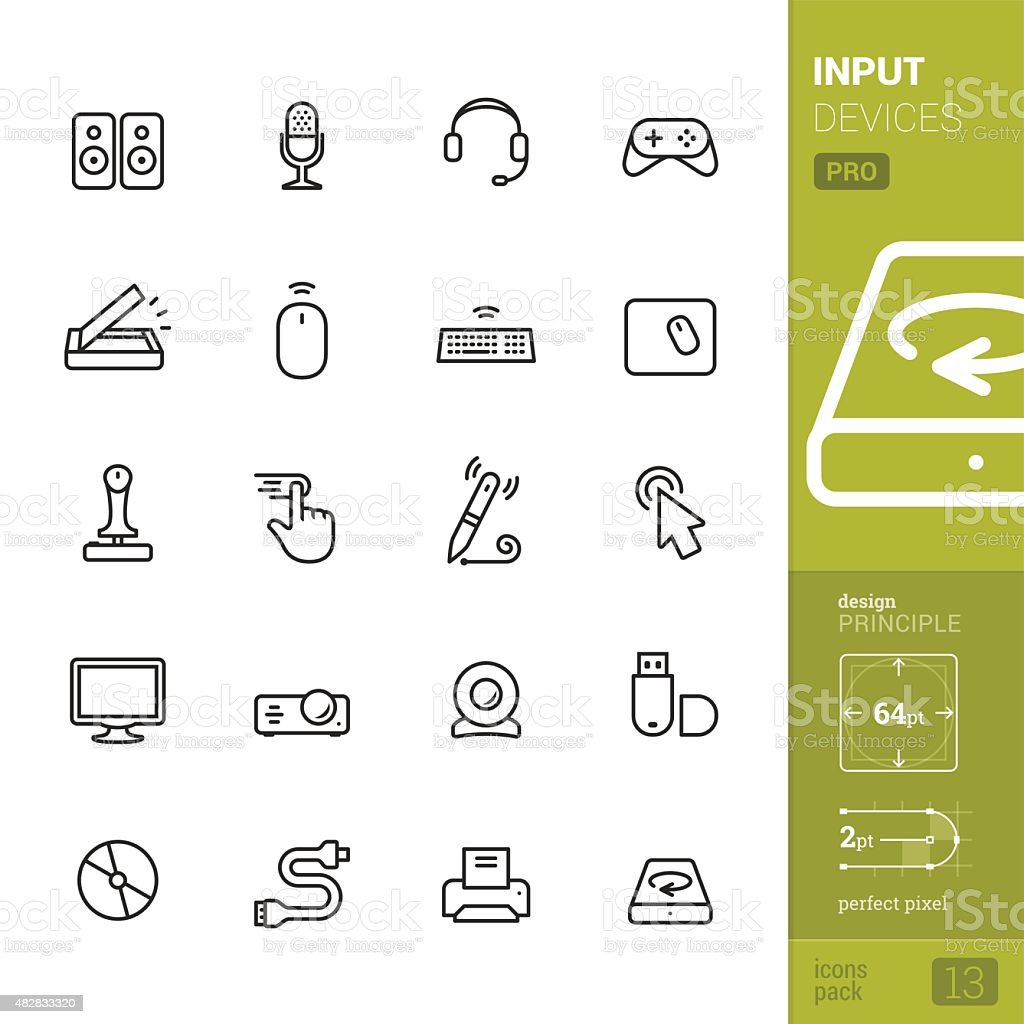 Input Devices related vector icons - PRO pack vector art illustration