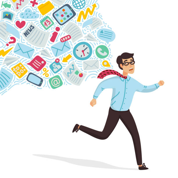 Input overloading. Information overload concept. Young man running away from information stream pursuing him. Concept of person overwhelmed by information. Colorful vector illustration in flat cartoon style Input overloading. Information overload concept. Young man running away from information stream pursuing him. Concept of person overwhelmed by information. Colorfull vector illustration in flat cartoon style. mental burnout stock illustrations