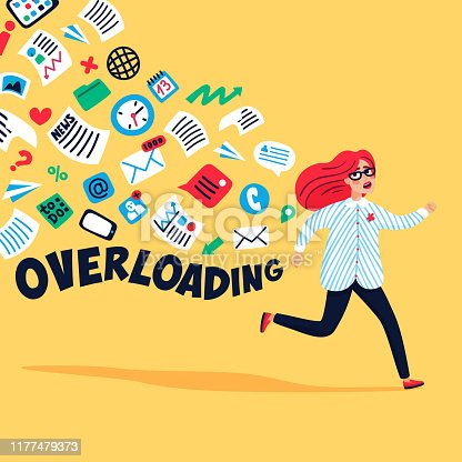 Input overloading. Information overload concept. Young woman running away from information stream. Concept of person overwhelmed by information. Colorful vector illustration in flat style