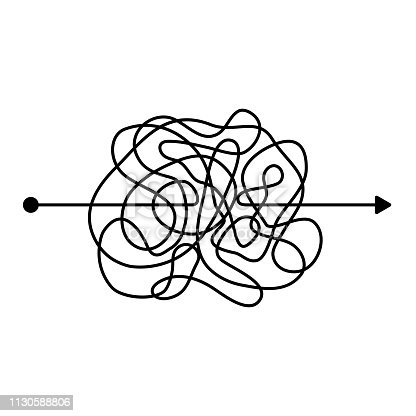 Insane messy black line, complicated clew way. Tangled scribble path. Chaotic difficult proces. template. Vector illustration