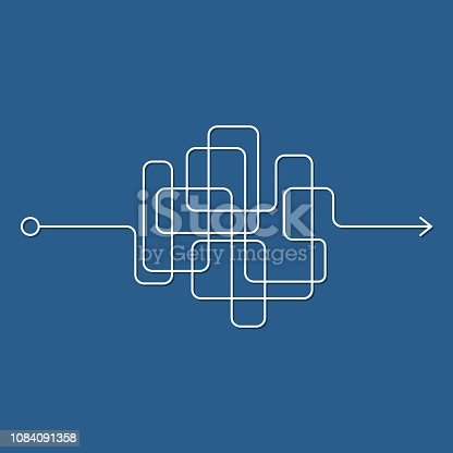 Insane messy line, complicated clew way on blue background. Tangled scribble path, chaotic difficult process way. Curved white line, solving a complex problem or quest. Vector illustration