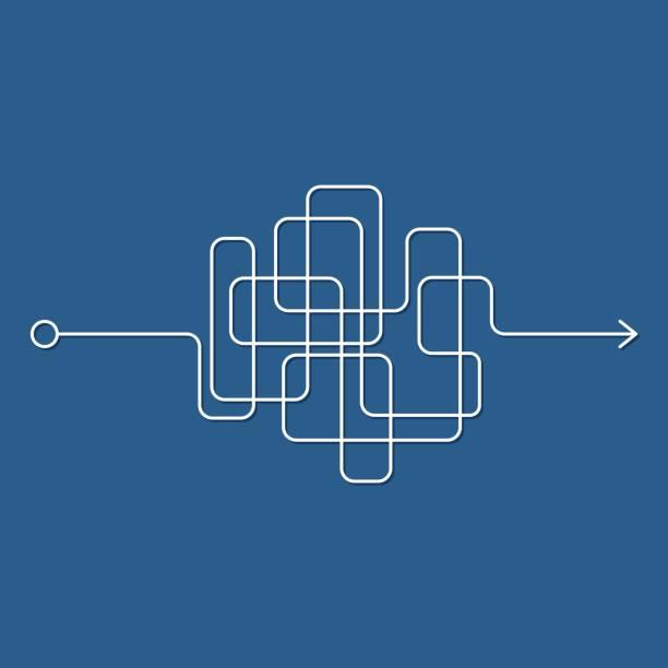 illustrazioni stock, clip art, cartoni animati e icone di tendenza di insane messy line, complicated clew way on blue background. tangled scribble path, chaotic difficult process way. curved white line, solving a complex problem or quest. vector illustration - facilità