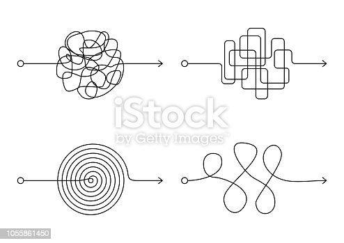 Insane messy line set, complicated clew way on white background. Tangled scribble path, chaotic difficult process way. Curved black line, solving a complex problem or quest. Vector illustration