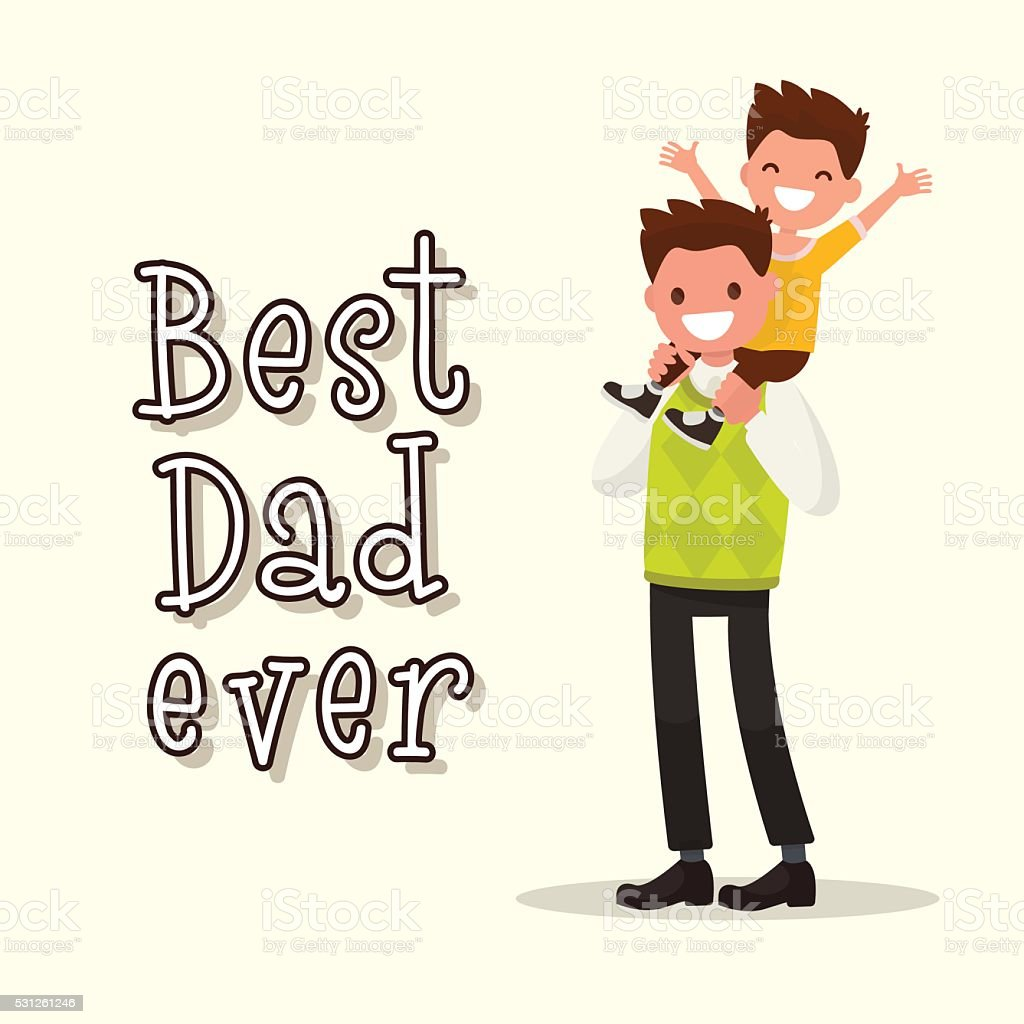 Inscription Best Dad ever. Vector illustration vector art illustration