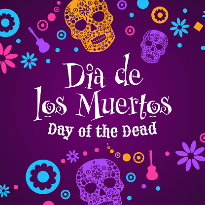 Inscription Day of the Dead in Spanish. Dia de los Muertos holiday concept. Template for background, banner, card, poster with text inscription. Vector EPS10 illustration.