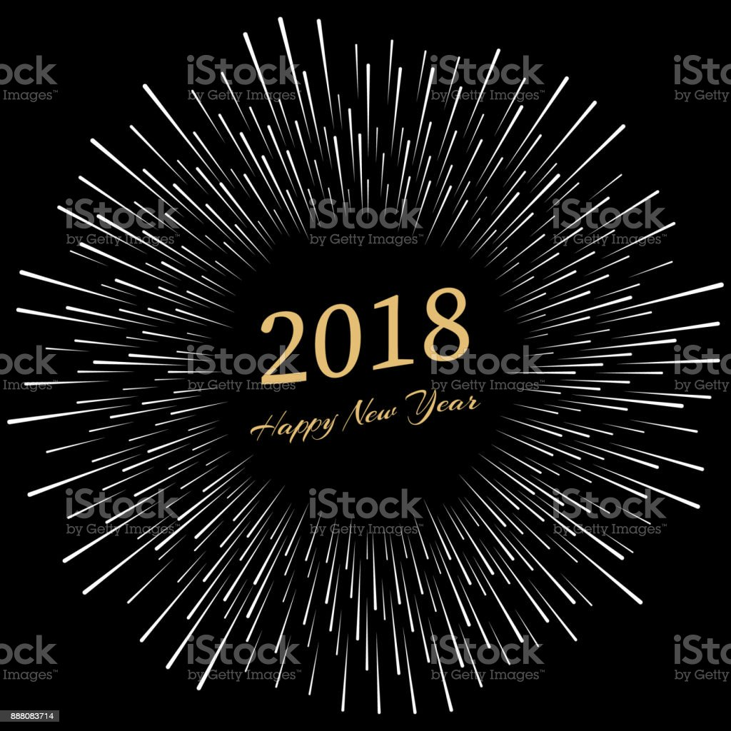 inscription happy new year 2018 with firework around new year and xmas design element template