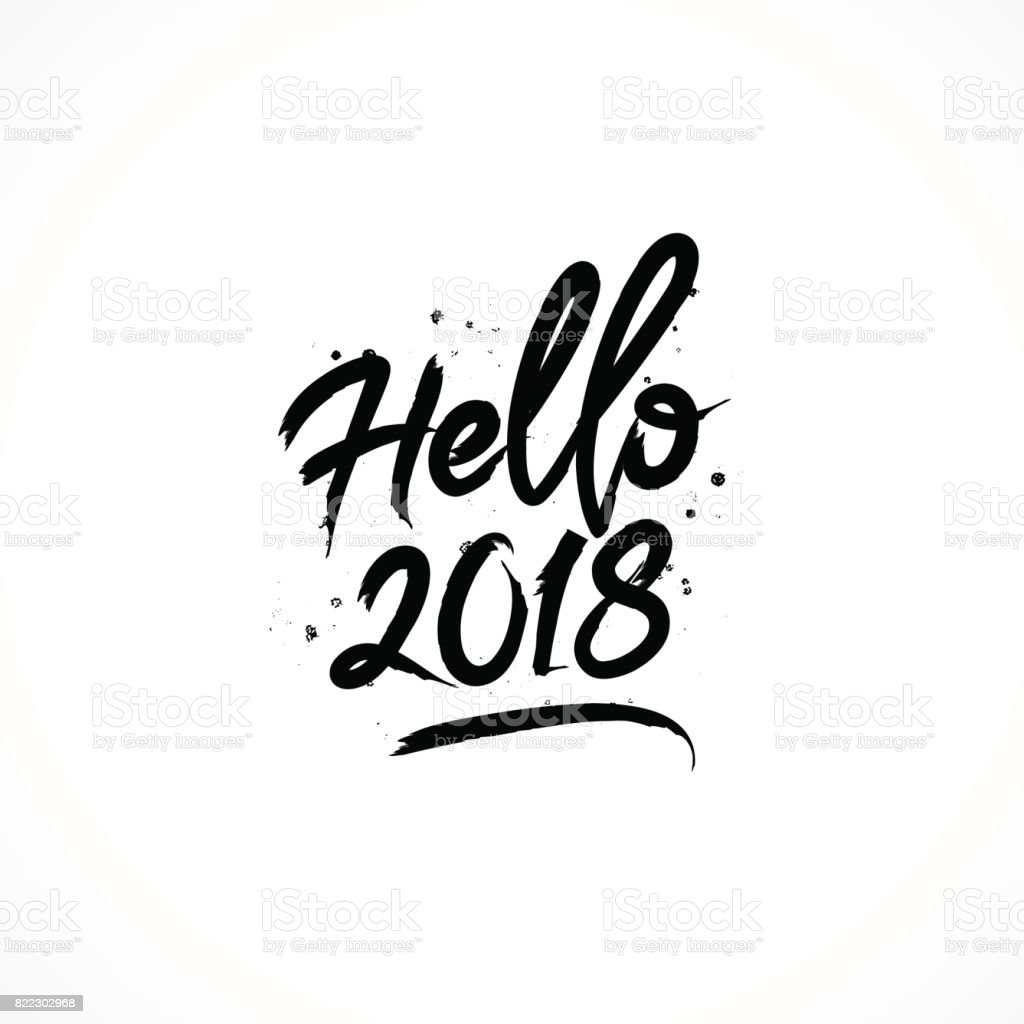 Inschrift Hallo 2018. Vektor – Vektorgrafik