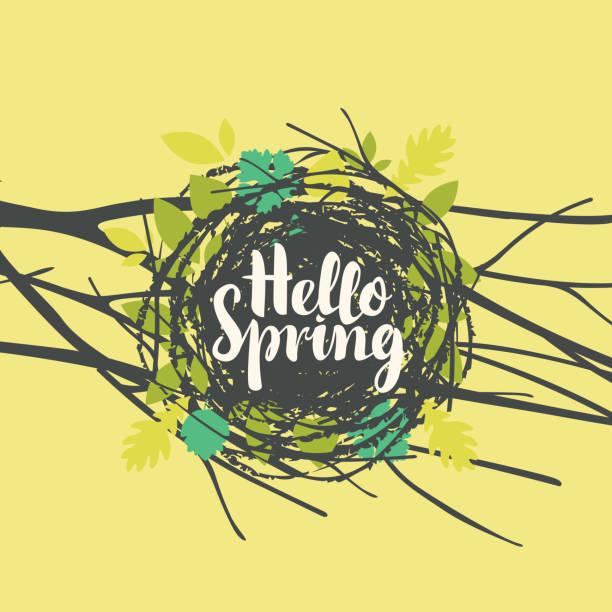 bildbanksillustrationer, clip art samt tecknat material och ikoner med inskriften hej våren i boet med blad - bo