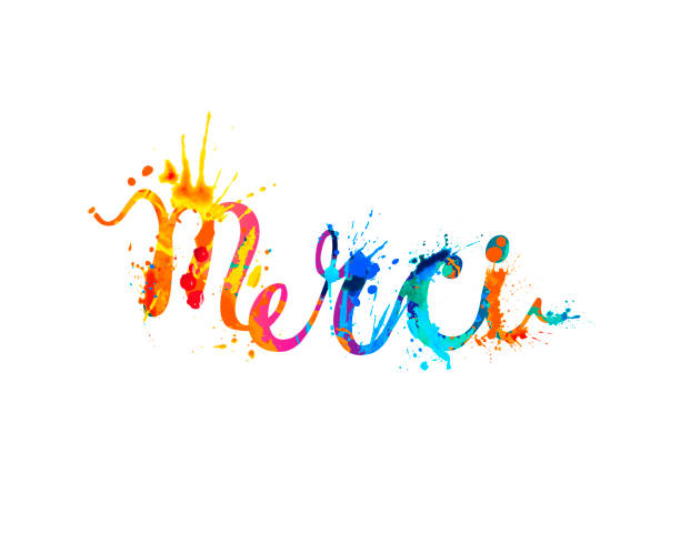 Inscription in French: Thank You (merci) Inscription in French: Thank You (merci). Splash paint french language stock illustrations