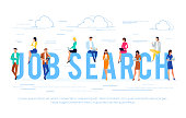 Inscription job search and people with phones and laptops. HR, employment, recruitment. Flat style vector illustratuion.