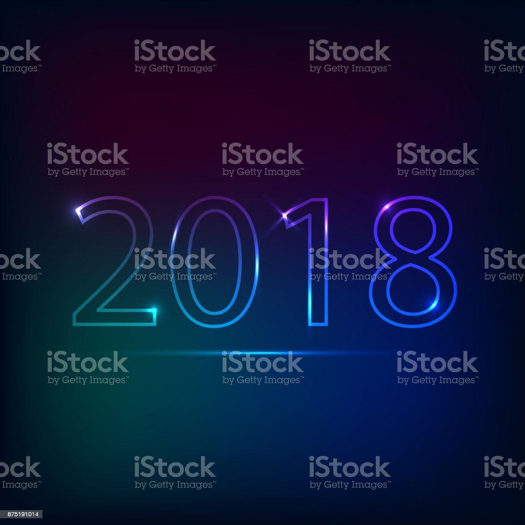 2018 inscription neon style vector art illustration
