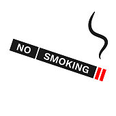 NO SMOKING inscription on cigarette silhouette. Vector icon.