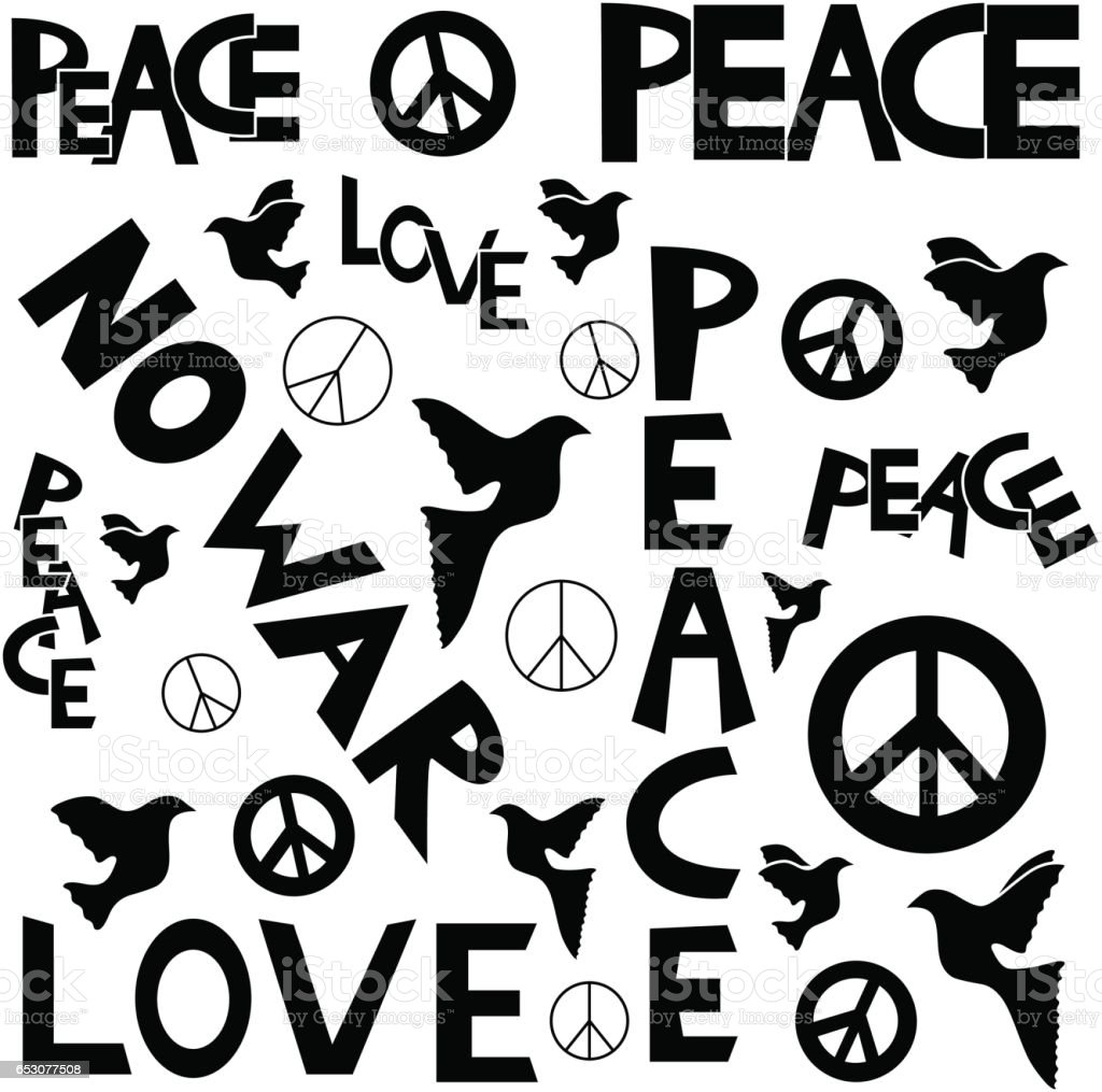 Inscription Peace And A Peace Symbol In Black And White Colors Stock