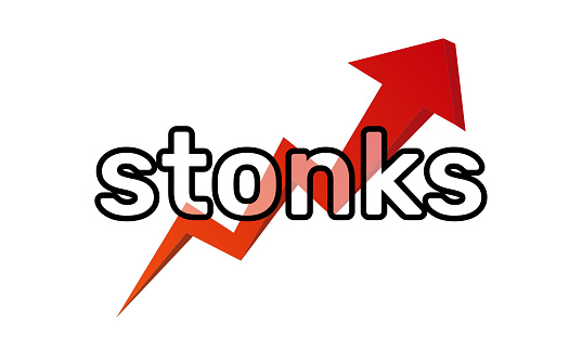 Inscription Stonks on a red arrow of a growing graph. A modern internet meme, a neologism meaning a sharp rise in stocks