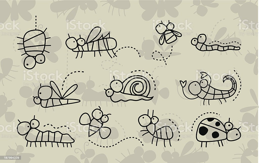 Insect collection royalty-free stock vector art