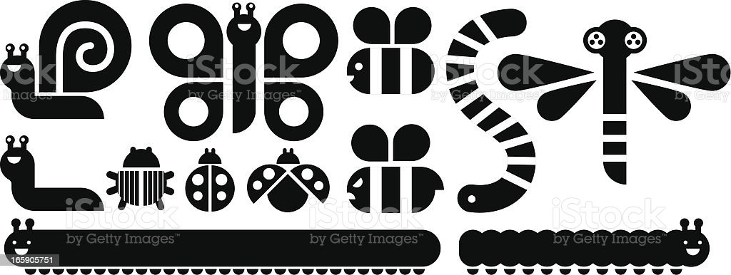 Insect graphic set in black and white vector art illustration