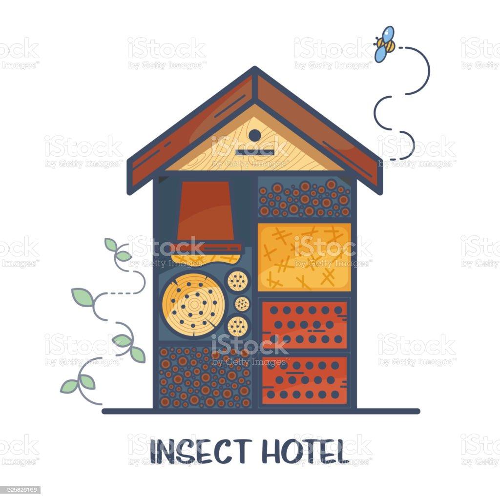 Insektenhotel - dekoriert Holzhaus mit Fächern und natürlichen Bestandteilen. Heim für nützliche Garten-Schädlinge wie Marienkäfer, Bienen, Schmetterlinge, Spinnen. – Vektorgrafik