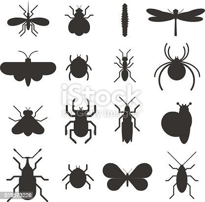 Insect icons black silhouette flat set isolated on white background. Insects flat icons vector illustration. Nature flying insects isolated icons. Ladybird, butterfly, beetle vector ant. Vector insects