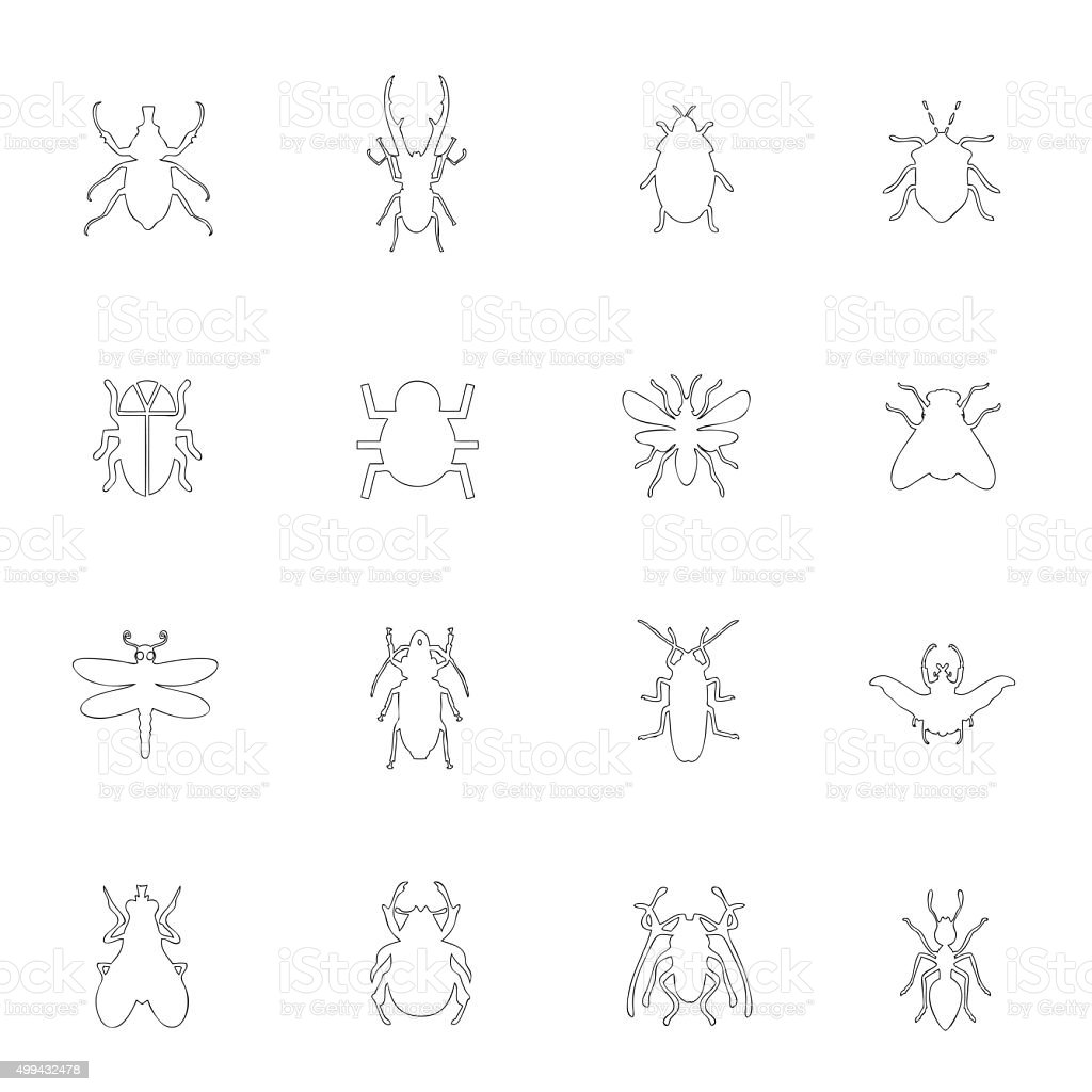 Insect icon line vector art illustration