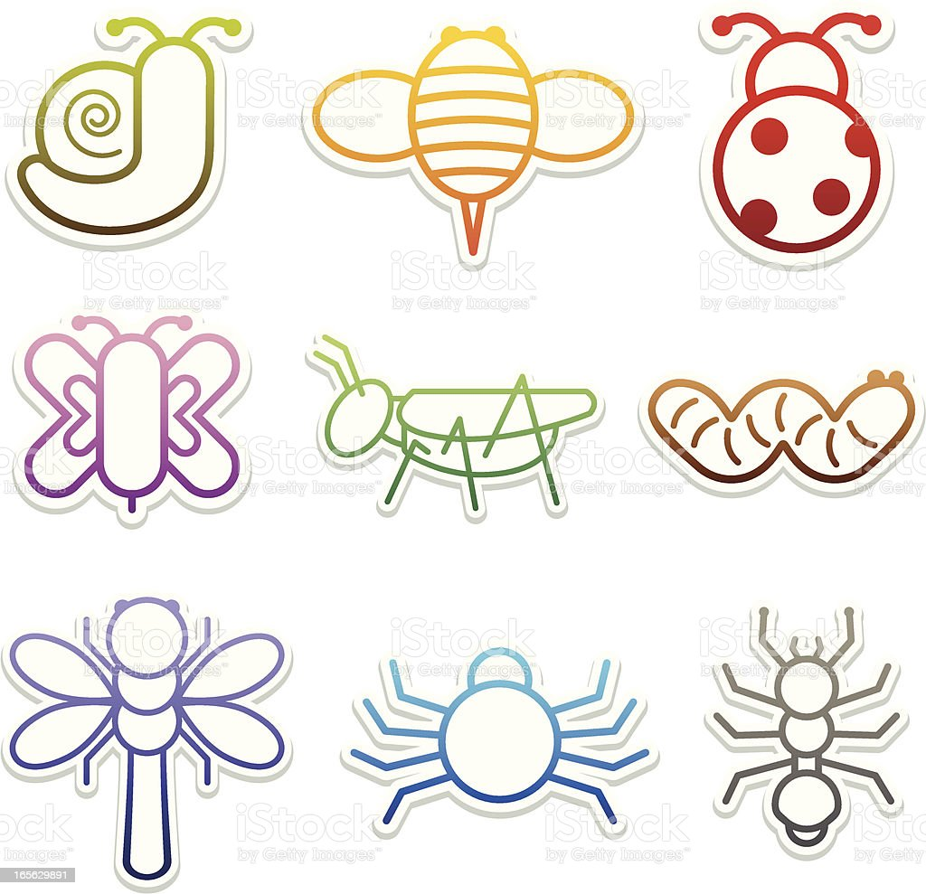 Insect Icon Stickers vector art illustration