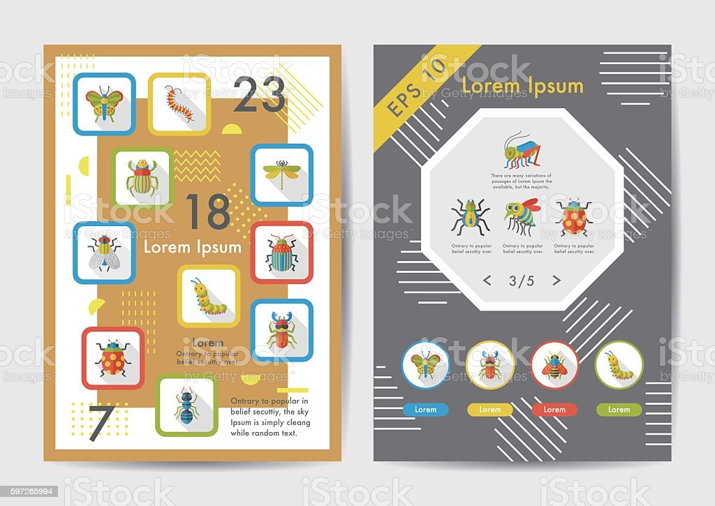Insect icons set with long shadow,eps10 vector art illustration