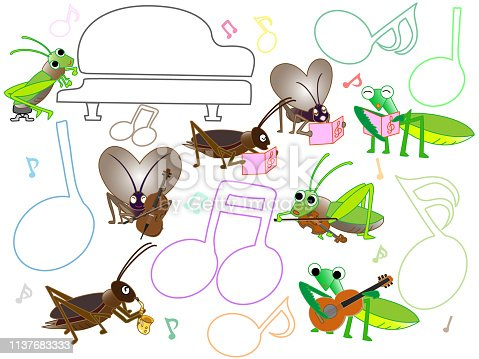 Insects sing and play musical instruments to hold a concert.