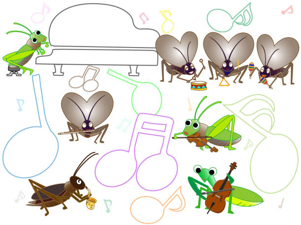 insect music - saks stock illustrations